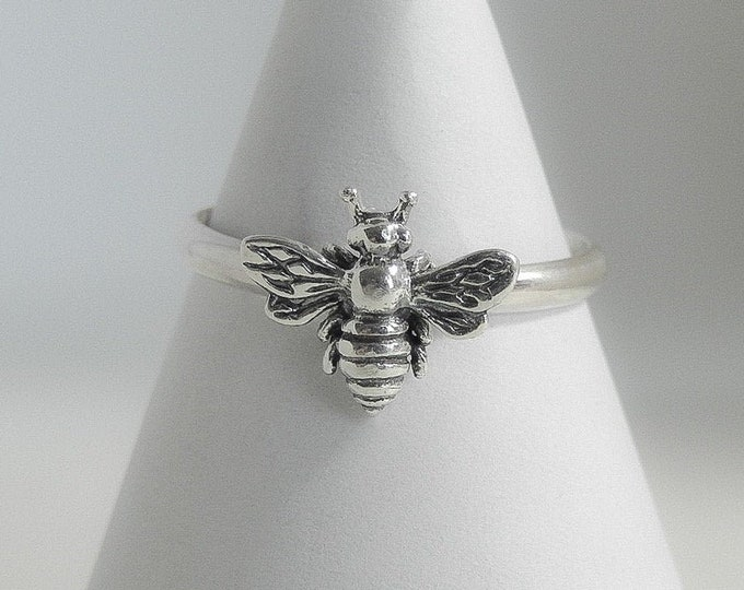 Featured listing image: Handmade USA Bee Ring, Sterling Silver, Made To Any Size