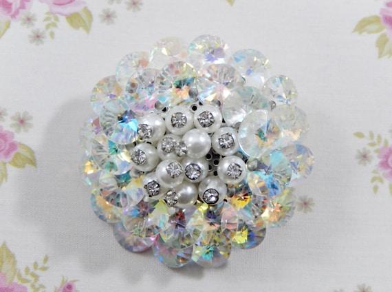 Vintage Clear AB Rivoli Faux Pearl Disc Brooch