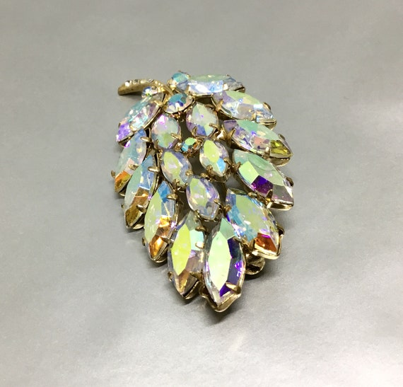 Vintage AB Rhinestone Leaf Brooch, Aurora Borealis Navettes, Rhinestone Jewelry