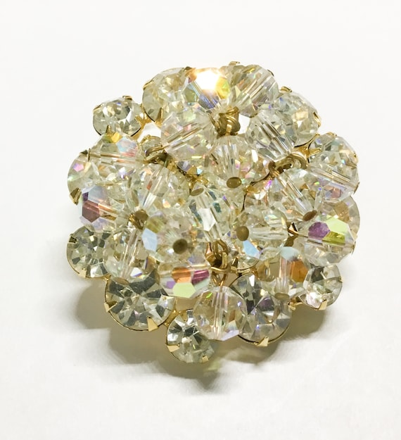 Juliana D & E Clear Rhinestone Bead Brooch, Glass Bead Dangles, 1960s, Collectible Juliana, Two Layer Brooch, Super Sparkly