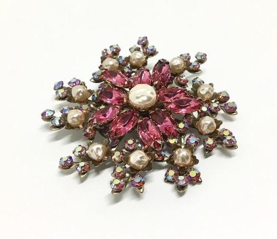 Vintage Judy Lee Large Floral Rhinestone Brooch, Unsigned, Raspberry Pink Rhinestones, Faux Baroque Pearls, Unique Flower Brooch