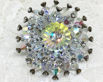 Vintage Faceted Beads AB Margarita Brooch Pin