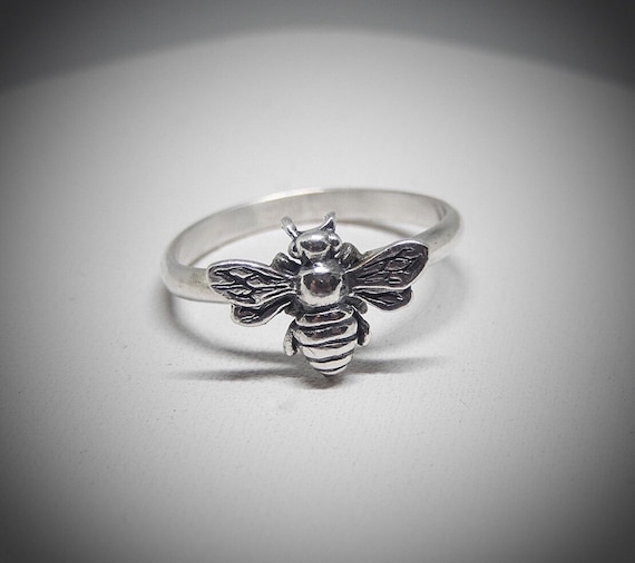 Honey Bee Ring, 925 Sterling Silver, Gift for Bee Lover, Made in USA