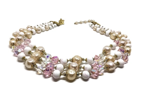 Vintage Vendome Three Strand Necklace, Large Faux Textured Pearls, Glass Beads, Chunky, Midcentury