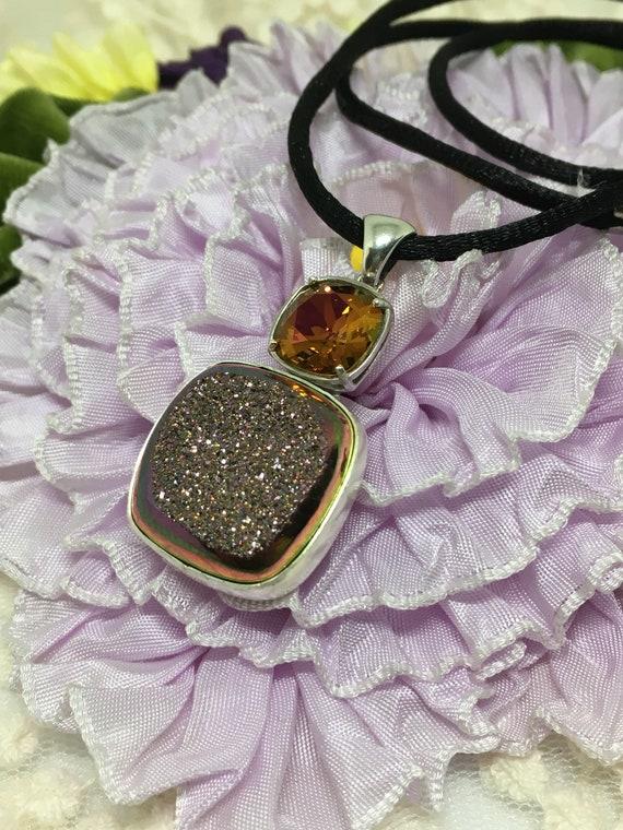 Sterling Silver Druzy w/Swarovski Crystal Pendant Handmade