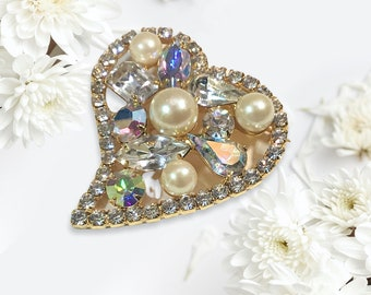 Vintage Openwork Faux Pearl and Rhinestone Heart Brooch,  Stylized and Sparkly Heart