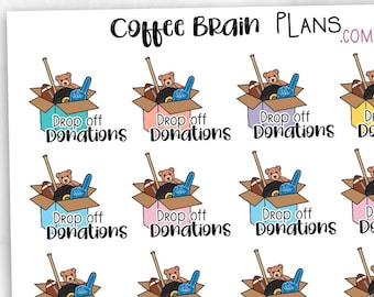 Drop off Donations Declutter Icon Script Planner Stickers