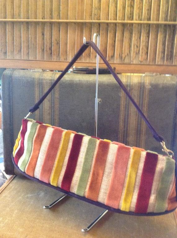 Vintage Velvet striped Handbag, Colorful Striped H