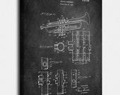 Trumpet (Selmer) Canvas Print, Trumpet (Selmer) Patent, Vintage Art, Blueprint, Poster, PatentPrints, Wall Art, Decor MU19C