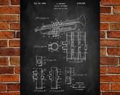 Trumpet (Selmer) Art Print, Patent, Trumpet (Selmer) Vintage Art, Blueprint, Poster, PatentPrints, Wall Art, Decor MU19A