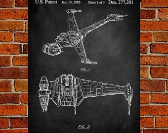 Star Wars Art Print, brevet B-Wing, B-Wing Vintage Art, plan B-Wing, B-Wing affiche, Print B-Wing, B-Wing Wall Art, B-Wing Decor