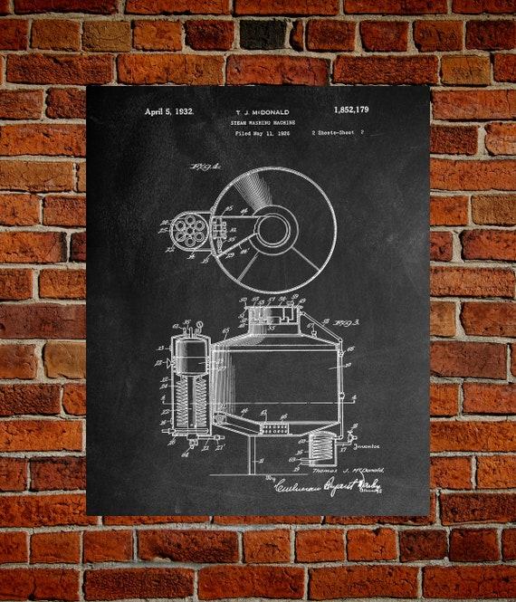 Blueprint Wall Art Decor Art Poster HO108A Print PatentPrints Washing Machine Patents