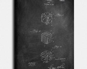 Dice  Canvas Print, Dice  Patent,  Vintage Art,  Blueprint,  Poster, PatentPrints, Wall Art, Decor [TO34C]
