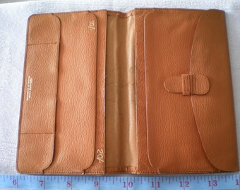Money Card Holder Mid Credit Card /& Note Compartments Light Brown Leatherette 1960s 1970s Mens Bifold Wallet Vintage Gents Accessory