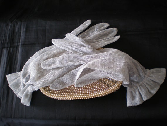 Vintage 1980's lace net silver grey ladies wrist g