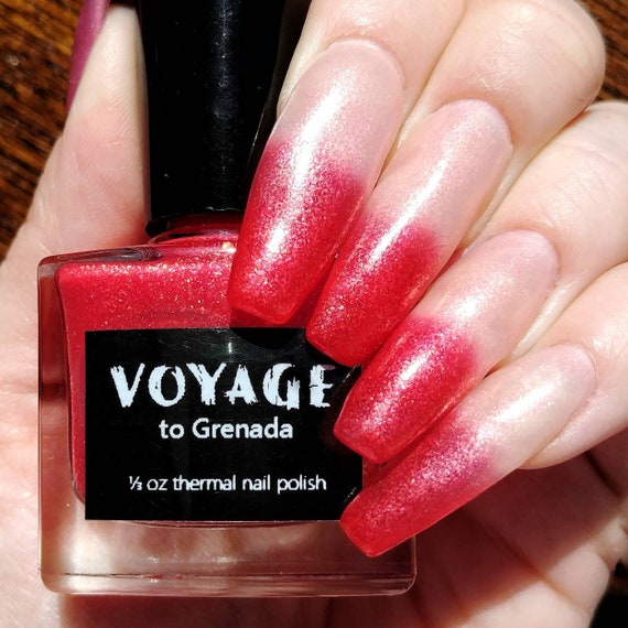 Voyage to Grenada: Thermal Clear Nude to Cherry Red Nail Polish