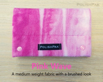PolishPak Storage Pouch for Nail Lacquer, Pink Magenta Painted Wave Hand Made Polishes Storage with Protective Pouches for Road Trip Nails