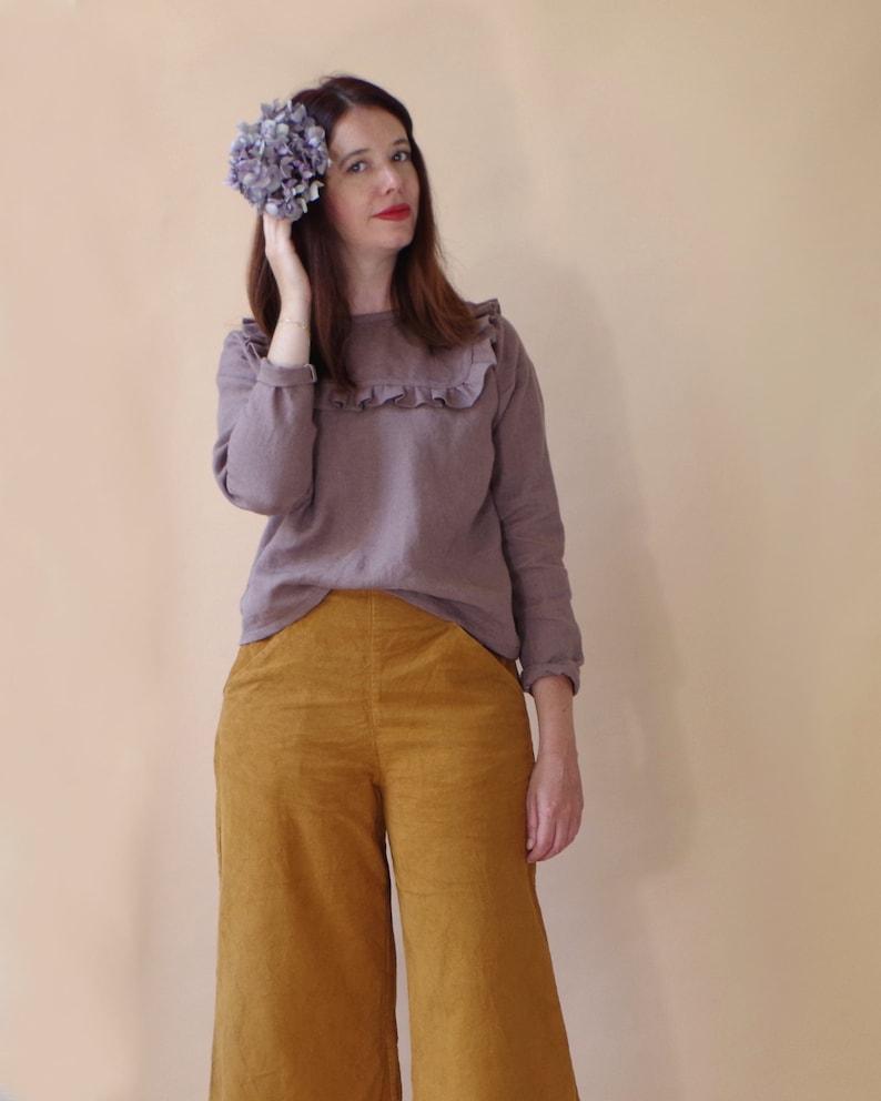 Ruffle blouse in organic linen dark mauve. Lovely long sleeves image 1