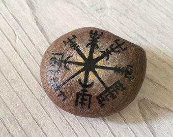 Vegvisir // Travel Stone // IJslands kompas // Bescherming reis // talisman// reiscadeau // afscheidscadeau // beschilderde steen