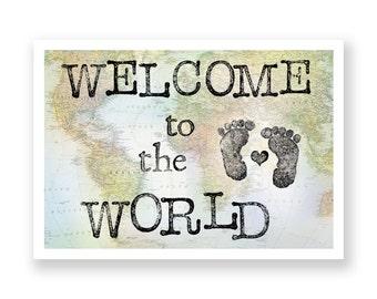 Ansichtkaart 'Welcome to the world' // geboortekaart // geboortefelicitatie // newborn // babykaart // baby reiziger // vintage look