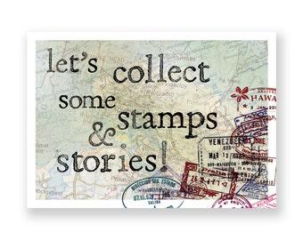 Ansichtkaart paspoortstempels // afscheidscadeau voor reiziger // reizen // goede reis // vintage look // landkaarten // kompas