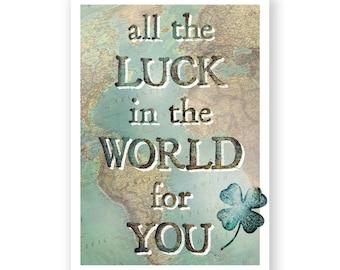 Ansichtkaart 'All the luck in the world..' // afscheidscadeau voor reiziger // reizen // goede reis // vintage look // landkaarten // kompas