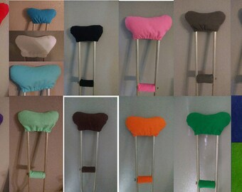 Assorted Solid Color Soft Padded Crutch Covers Pillows Cushioned Crutches Cover with Hand Grip Cover Set Pads Comfort  Padding Cushions