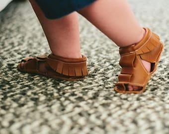 Moccasin Sandals, vegan baby, soft sole shoes, baby moccs, toddler moccasins