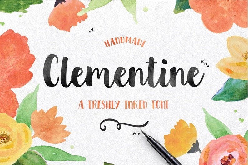 Clementine Hand drawn Script Font Download Commercial or image 1