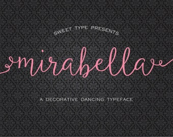 Mirabella Script Calligraphy Font Download + Alternate Decorative Bonus - Personal or Commercial