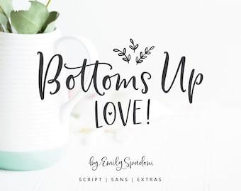 Bottoms Up Love Hand Lettered Script Sans Font Duo & Extra Doodles