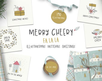 Merry Cheery Holiday Clip Art Bundle, Winter, Patterns, Greetings, Illustrations, PNG, Ai, Eps