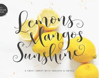 Lemons Mangos Sunshine Hand Lettered Calligraphy Script Font Commercial Download