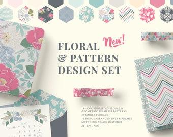 Floral Pattern Design Set.  PNG Illustrations, Flowers, Pattern Bundle Vector