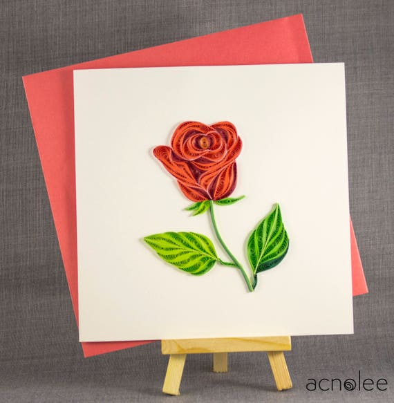 3d handmade card quilling card quilled rose love card paper etsy image 0 mightylinksfo