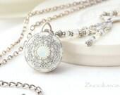 4 photo locket with Swarovski White Opal Stone, Birth Stone Locket, White Silver Bridal Locket, Silver Wedding Locket with Opal Crystal