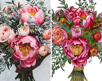 "ORIGINAL - CUSTOM Bridal Bouquet Painting - 12x16"" Mounted Artwork"