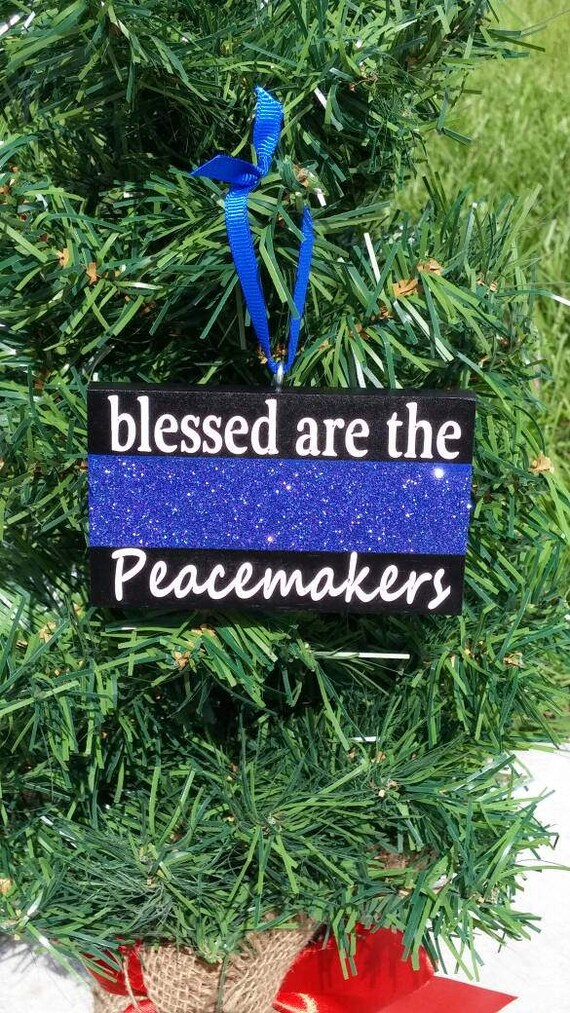image 0 - Thin Blue Line Glitter Christmas Ornament Police Ornament Etsy