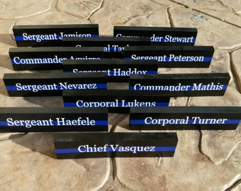 Thin Blue Line Desk Plaque, Police Name Plate. Police Officer gifts, Police Wedding, Police retirement, Thin Blue Line Gifts Desk name plate