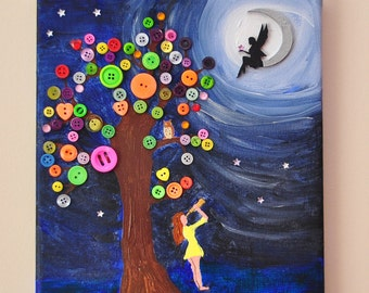 Night Sky. Acrylic on canvas picture/art, beads, buttons.  Size 14ins x 10ins. 1/2inch deep/gift/fantasy/stars/moon