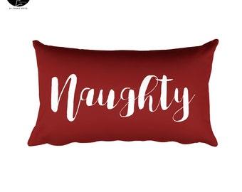 "Naughty or Nice Holiday Pillow 20""x12"""