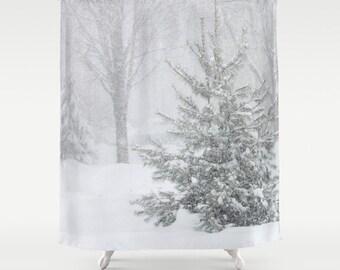 Ski Decor Its Snowing II Shower Curtainwhiteblack Bathroom DecorBath AccessoriesBathroom ArtDesigner CurtainInterior Design