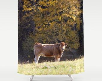 Brown Cow Shower CurtainBrown Green Yellow Farm Bath Curtain Bathroom DecorAccessoriesBathroom ArtDesigner CurtainInterior Design