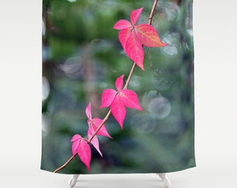 Red Wine Leaves Shower Curtain Green Pink Elegant Bath CurtainBathroom DecorAccessoriesBathroom ArtDesigner CurtainInterior Design