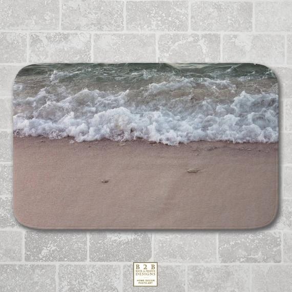 Bath Mat Waves On The Beach Beige Green Modern Bathroom Etsy