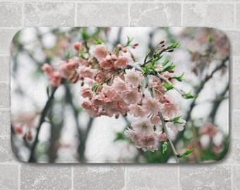 Magnolia Bath Mat, Pink, Mauve, White, Floral Bathroom Decor, Memory Foam Microfiber Floor Mat, Kitchen Floor Decor, Interior Design, Spring