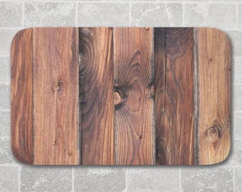 Barnwood Bath Mat, Brown, Rustic Bathroom Decor, Memory Foam Microfiber Floor Mat, Kitchen Floor Decor, Interior Design, Wood Decor, Modern