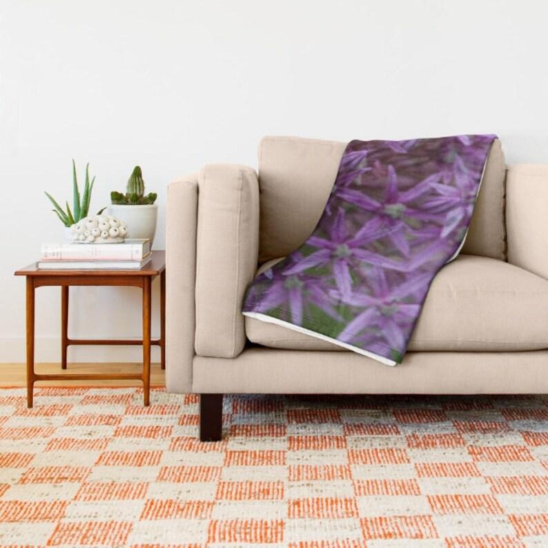 Floral Home Decor Cottage Decor Modern Bedroom Decor Lavender Throw Blanket Gift Country Living Purple Fleece Blanket Allium Flower