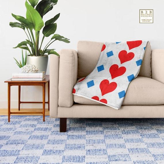 Hearts, Throw Blanket, Modern Bedroom Decor, Red Livingroom Accessories,  Bedroom Art, Interior Design, Fleece Blanket, Holiday Decor, Gift