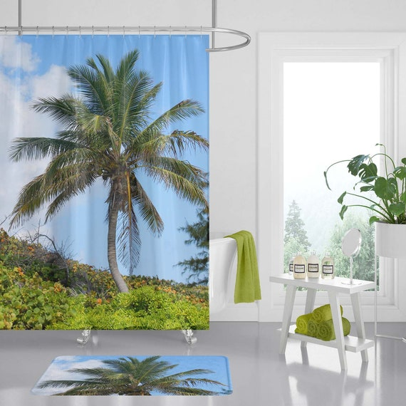 Palm Tree Bathroom Set Shower Curtain, Palm Tree Shower Curtains Bath Accessory Sets